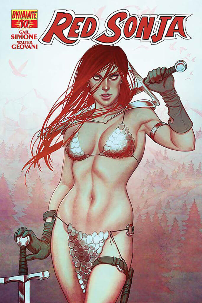 Red Sonja stands facing forward, resting her sword on her shoulder