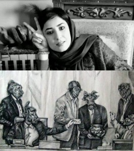 Atena Farghadani photograph and cartoon, 2015