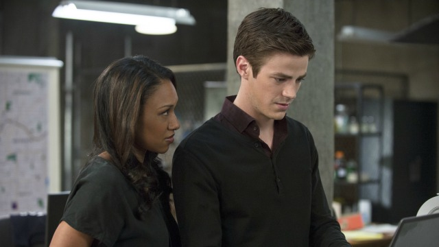 "The Flash. ""Fastest Man Alive"". Candice Patton as Iris West and Grant Gustin as Barry Allen. Photo by Cate Cameron. The CW. 2014."