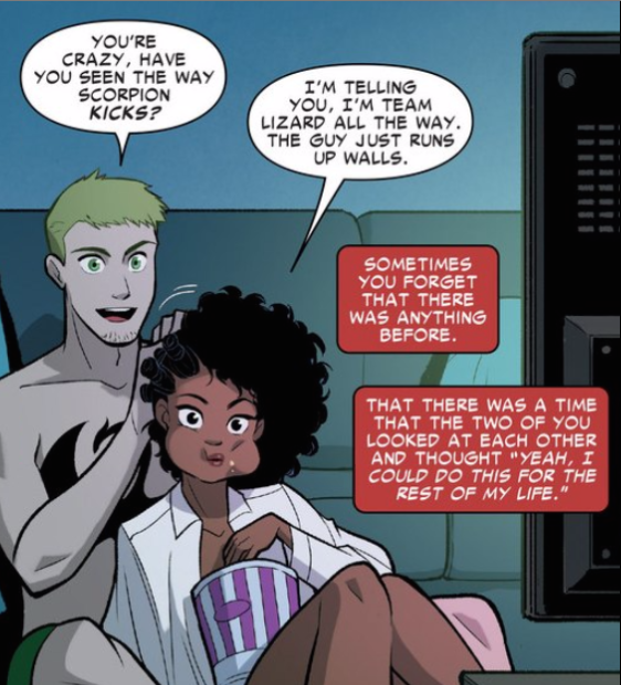 """Misty and Danny Forever"". Marvel Comics. Secret Wars: Secret Love #1. Jeremy Whitley (words). Gurihiru (art). VC's Clayton Cowles (letters). August 2015."