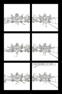 """Page 8 of Haan Lee's """"Canaries."""" Image courtesy Haan Lee's Behance gallery."""