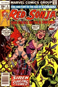 Red Sonja #6 cover by Franke Thorne, Marvel, 1977