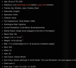 Lara Croft profile, tombraider.wikia