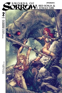 Swords of Sorrow: Red Sonja & Jungle Girl #2, cover by Jay Anacleto, colors by Ivan Nunes, Dynamite 2015