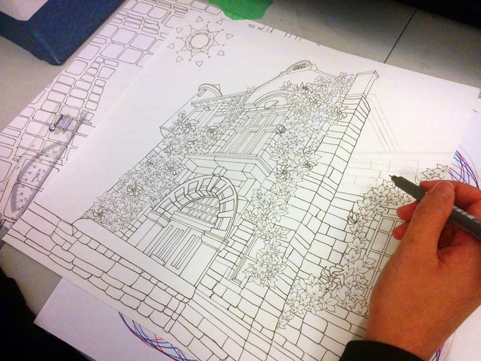 Legendary Landscapes Adult Coloring Book Example by Carrie and Witek Radomski - Inking in Progress 2015