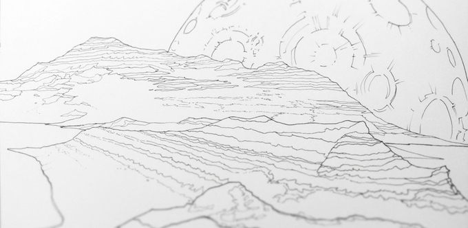 Legendary Landscapes Adult Coloring Book by Carrie and Witek Radomski - Moonscape - 2015