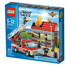 A Lego City Firefighter-themed kit. All the boxes in the line are blue.