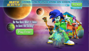 This is not the grey and white, pixelated game I remember. From mathblaster.com.