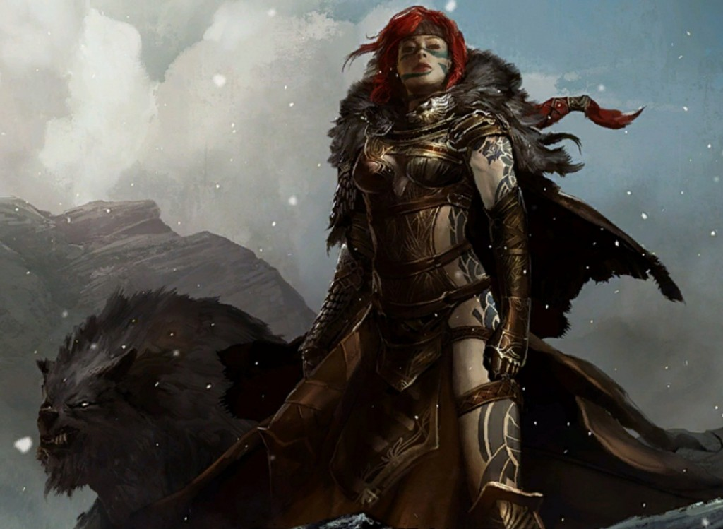 Guild Wars 2, ArenaNet, NCSOFT, 2012. A redheaded woman in arm stares out defiantly, a wolf at her side.