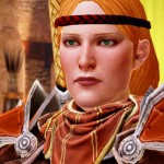 Dragon Age II, Bioware, Electronic Arts, 2011. A redhead woman in armor looks serious.