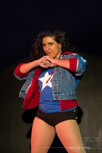 Boom Boom L'Roux as America Chavez. [Photo by Heather Schofner.] Bechdel Test Burlesque 2015.