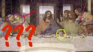 Da Vinci Mysteries header, wikimedia, altered Da Vinci's Last Supper