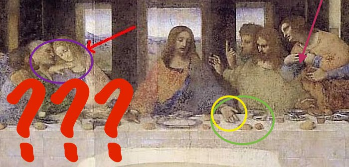 Da Vinci Mysteries header, wikimedia, altered Da Vinci's Last Supper