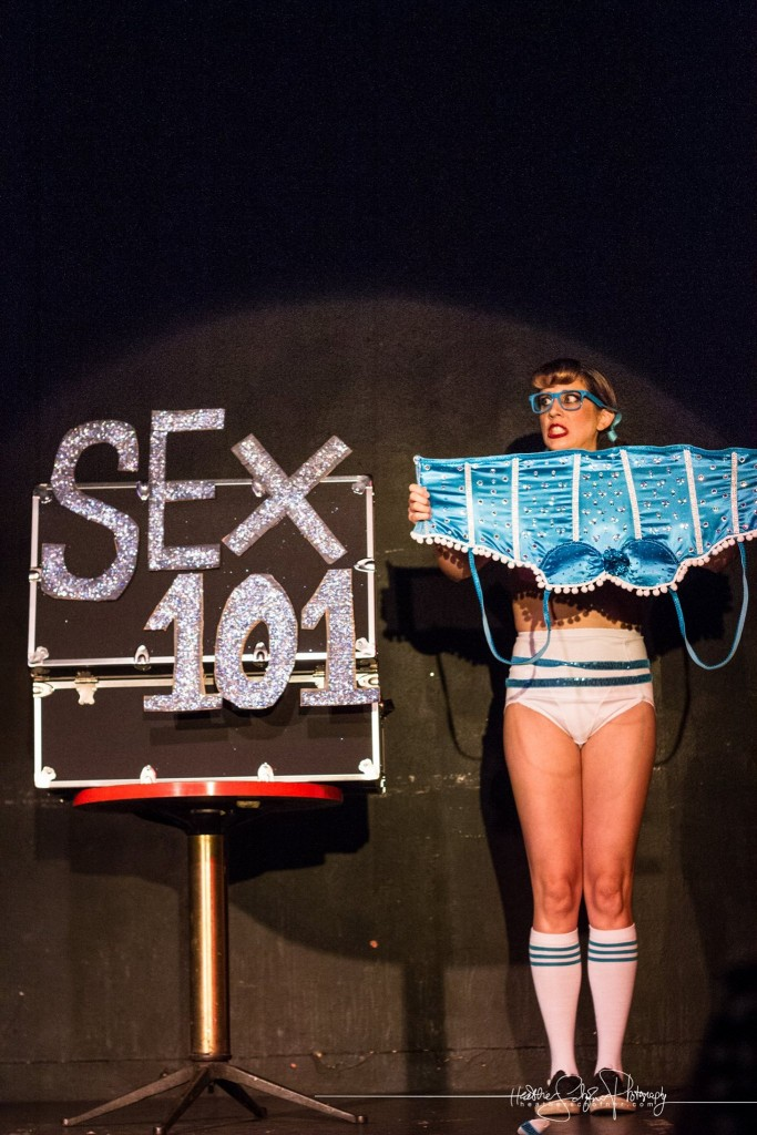 Kiki Mustang as the Sex Geek. Bechdel Test Burlesque 2015. Photo by Heather Schofner.