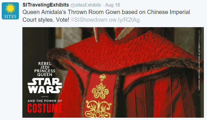 Star Wars Queen Amidala Throne Room Gown: SITES tweet August 2015