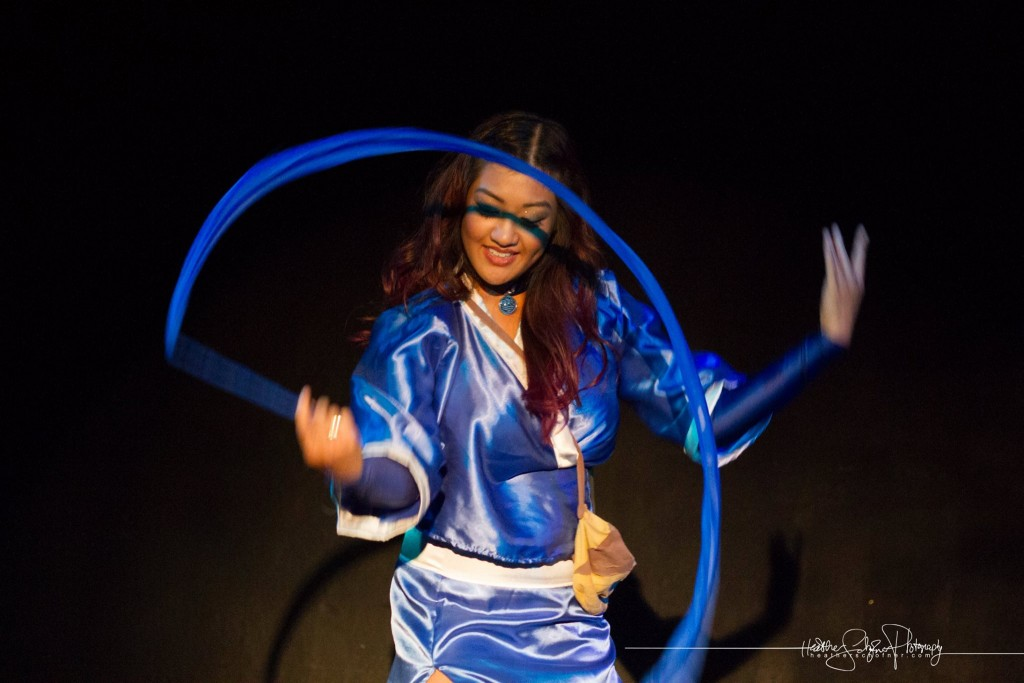 Satira Sin as Katara. [Photo by Heather Schofner.] Bechdel Test Burlesque 2015.
