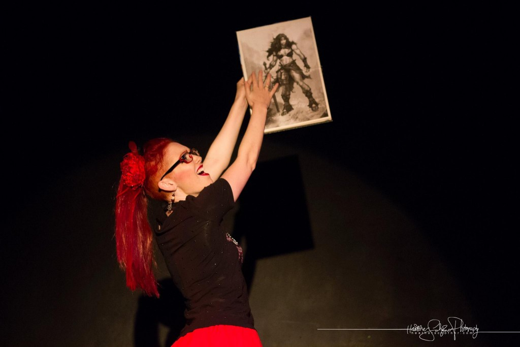 Scarlett O'Hairdye as the Dungeon Master. [Photo by Heather Schofner.] Bechdel Test Burlesque 2015.