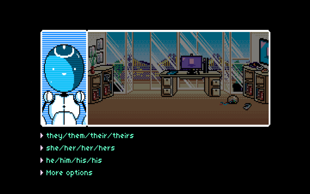 A list of possible pronouns. Other options include ze/zir/zir/zirs, xe/xir/xir/xirs, and custom pronouns. Read Only Memories, Midboss, 2015.