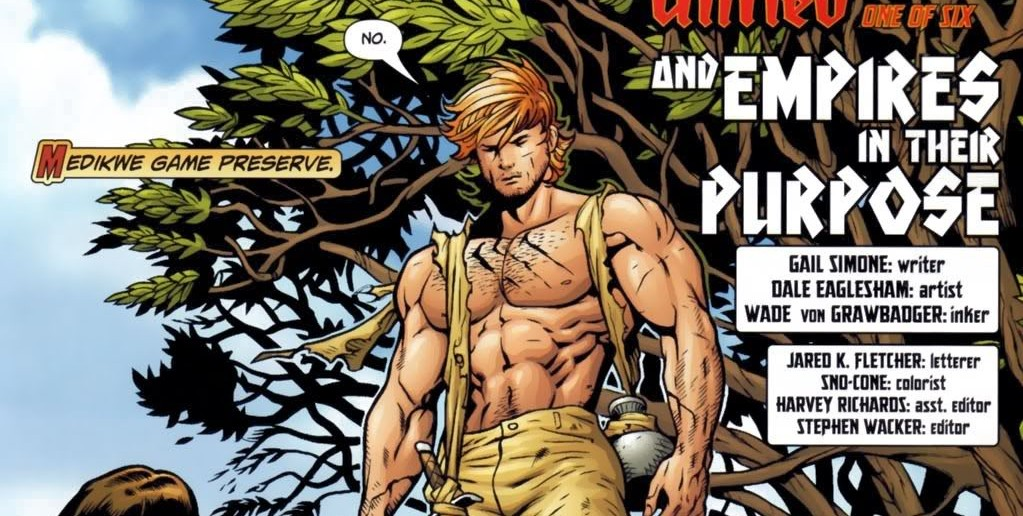 Shirtless Catman panel from Villains United #1. Gail Simone (writer), Dale Eaglesham (artist), Wade von Grawbadger (inker). DC Comics, 2005