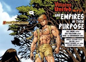 Shirtless Catman panel from Villains United #1. Gail Simone (writer), Dale Eaglesham (artist), Wade von Grawbadger (inker). DC Comics, 2005