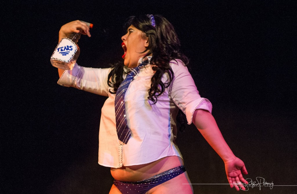 Sin de la Rosa as Cho Chang. [Photo by Heather Schofner.] Bechdel Test Burlesque 2015.