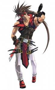 Sol Badguy, Guilty Gear, Daisuke Ishiwatari. A brown-haired guy pointing forward.