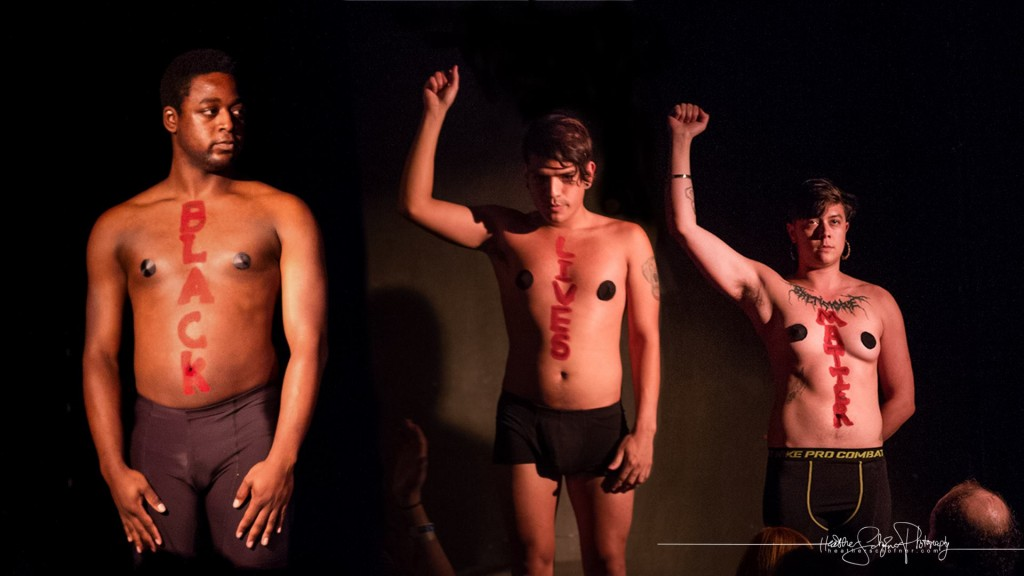 The Lady B, Yani, and Sir Sissy: Black Lives Matter. [Photo by Heather Schofner.] Bechdel Test Burlesque 2015.