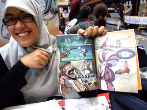 Asia Alfasi, Libyan-Scottish Cartoonist, at OK True Believers, Cheltenham, 2015