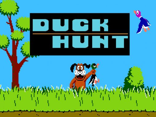 Duck Hunt, Nintendo, 1984. Image of the loading screen, a dog holding a duck.