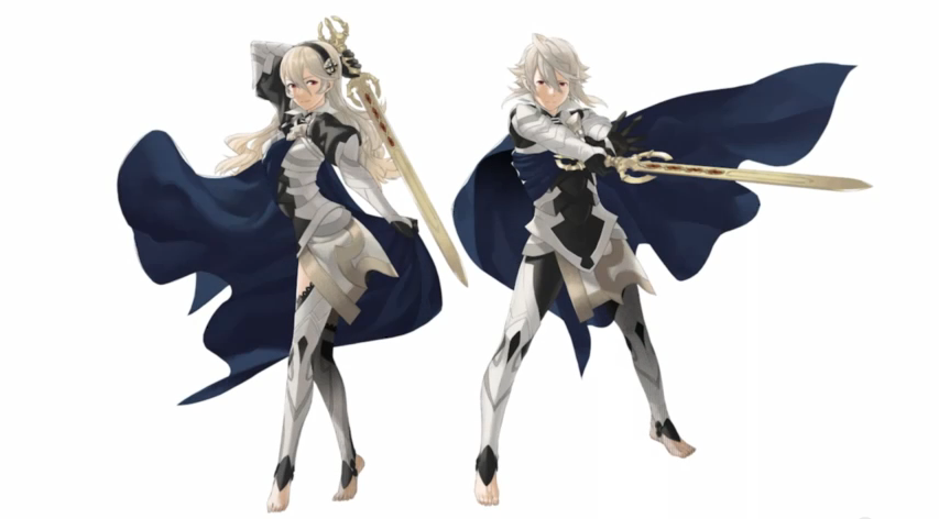 Male and female player characters with silver hair, swords, silver outfits, and blue capes in Fire Emblem Fates, Intelligence Systems/Nintendo SPD, Nintendo, 2015
