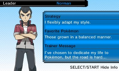 Image of Norman with his strategy, favorite Pokemon, and trainer message from Pokemon Omega Ruby/Alpha Sapphire, Game Freak, The Pokemon Company/Nintendo, 2014