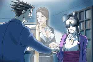 Screencap from Phoenix Wright: Ace Attorney (Capcom, Nintendo DS, 2005) / image retrieved from http://vignette3.wikia.nocookie.net/aceattorney/images/7/7e/Maya_and_Phoenix.png/revision/latest?cb=20120226005614