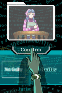 Screencap from Apollo Justice: Ace Attorney (Capcom, Nintendo DS, 2008) / image retrieved from Court Records fansite, http://www.court-records.net/screenshot/GS4/en-notguilty.png