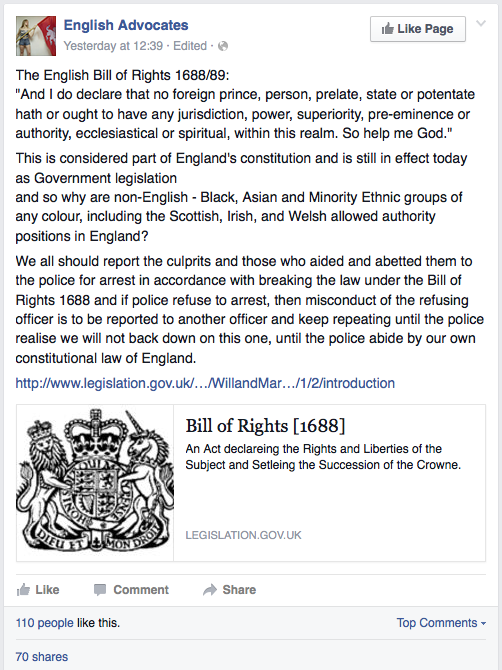 Posting from the English Advocates Facebook page