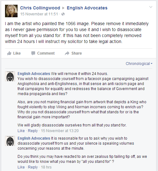 Screenshot of a discussion from the English Advocates Faebook page
