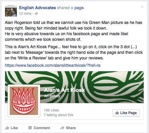Screenshot of a posting from the English Advocates Facebook page