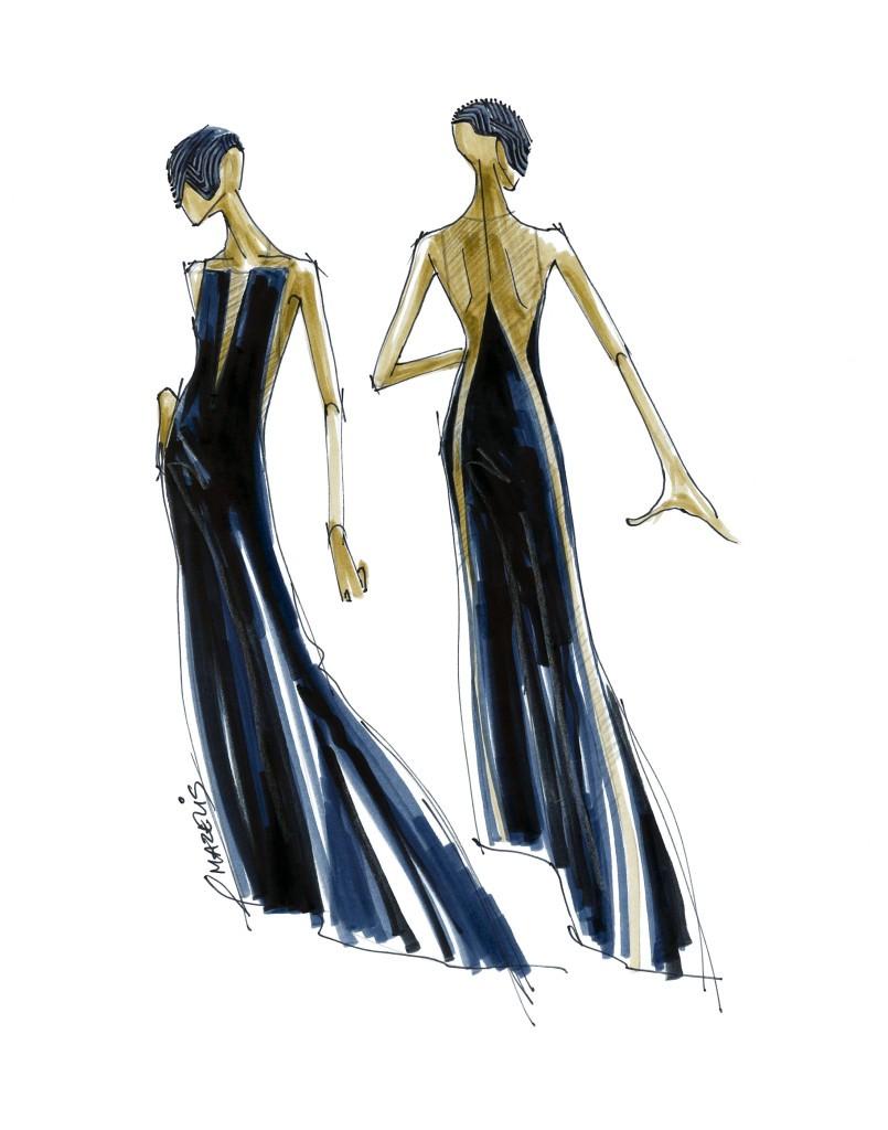 Halston- Sketch for Star Wars Force 4 Fashion