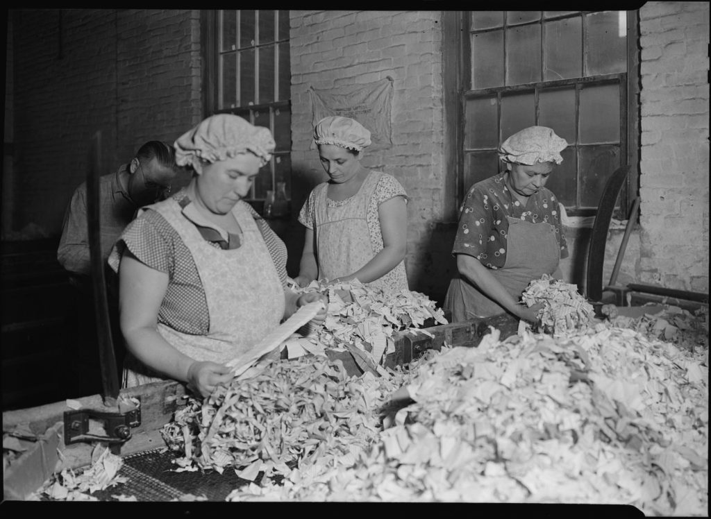 """""""American Writing Paper Co. Rag Sorting (French)-Mt. Holyoke, Massachusetts."""" U.S. National Archives and Records Administration"""