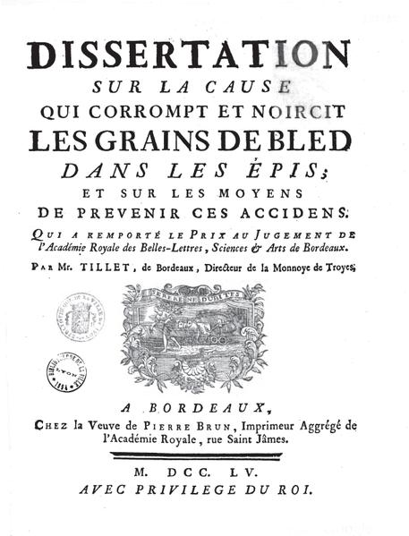 """Couverture de l'ouvrage de Mathieu Tillet, """"Dissertation sur la cause qui corrompt et noircit les grains de blé dans les épis, et sur les moyens de prévenir ces accidens,"""" 1755. Wikimedia Commons."""