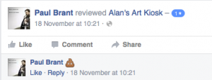 """Screenshot of a review posted on the Facebook page """"Alan's Art Kiosk"""""""