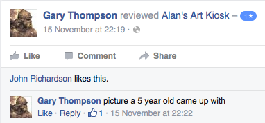 "Screenshot of a review posted on the Facebook page ""Alan's Art Kiosk"""