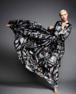 Gwendoline Christie wears Giles Deacon's Force 4 Fashion design, photographed by John Akehurst, via Vanity Fair