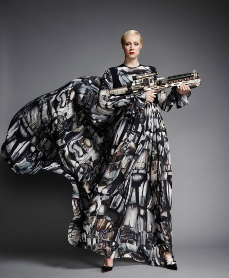 Gwendoline Christie wears Giles Deacon's Force 4 Fashion design, photographed by John Akehurst, via Vanity Fair