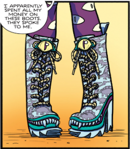 Esther's monster boots, by Lissa Treiman and Whitney Cogar.