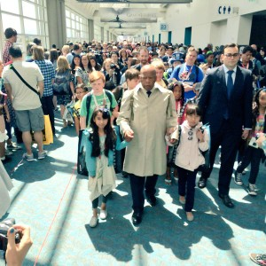 Representative John Lewis doing March cosplay recreating Selma March at 2015 SDCC, photo from Top Shelf twitter account