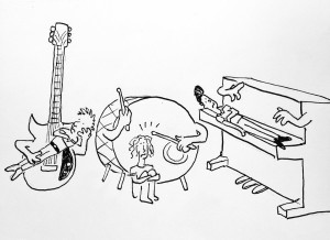 """A black and white cartoon drawing of Jukebox the Ghost instruments playing Jukebox the Ghost people"""