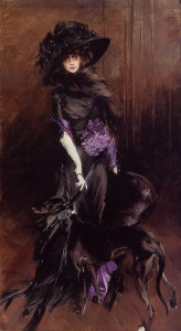 Marchesa Luisa Casati with greyhound by Giovanni Boldini, 1908