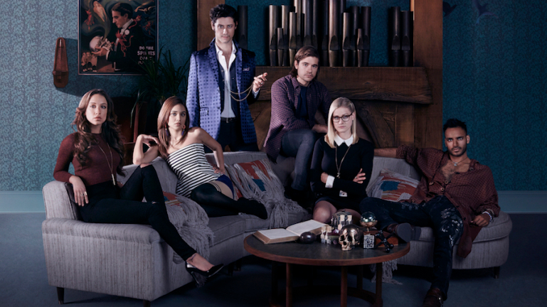 THE MAGICIANS Stella Maeve as Julia, Summer Bishil as Margo, Hale Appleman as Eliot, Jason Ralph as Quentin, Olivia Taylor Dudley as Alice, Arjun Gupta as Penny Lorenzo Agius, SyFy, 2015