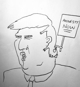 "A caricature of Donald Trump, where his hair is a squirrel with a sign that reads ""Amnesty Now."""