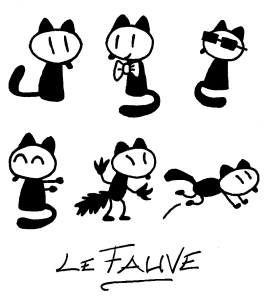 Lewis Trondheim designs of Le Fauve mascot of the Angouleme International Comics Festival